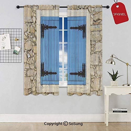 (Vintage Style Decor Image of Stone House and Antique Shutters in European Village Window Curtain Sheer Voile Panels,for Kids Room,Kitchen,Living Room & Bedroom,2 Panels,Each 32x36 Inch,Turquoise Crea)