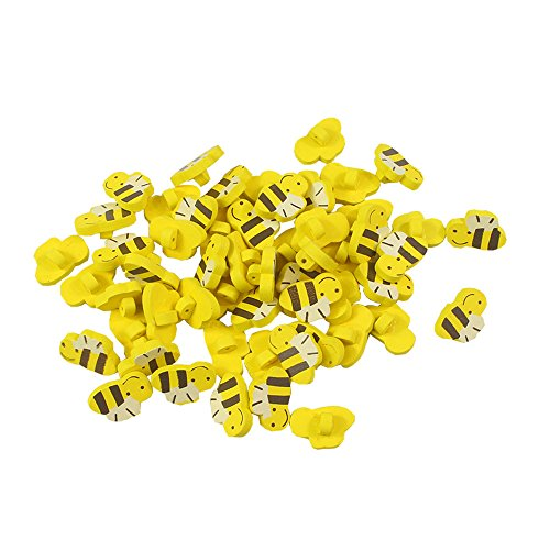 - 100pcs Wooden Buttons in Bulk Buttons for Crafts Yellow Bees Bu-18