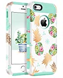 BENTOBEN Phone Case for iPhone 5, Case for iPhone SE, Pineapple Case for iPhone 5S, BENTOBEN Hybrid Hard PC Soft TPU Gold Pineapple Design Shockproof Protective Case for iPhone SE 5S 5, Mint Green