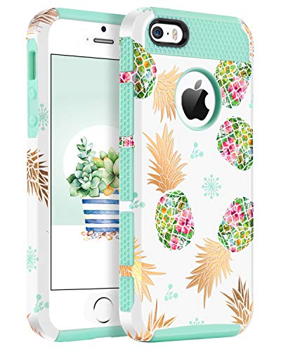 Halloween Iphone 5 Covers (BENTOBEN Phone Case for iPhone 5, Case for iPhone SE, Pineapple Case for iPhone 5S, BENTOBEN Hybrid Hard PC Soft TPU Gold Pineapple Design Shockproof Protective Case for iPhone SE)