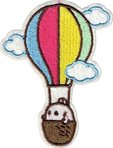 Hot Air Balloon with Clouds & Cute Bunny - Cut Out Embroidered Iron On or Sew On Patch