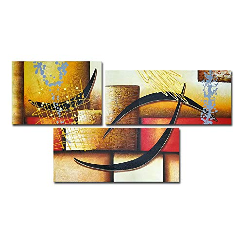 3 Pics Modern Abstract 100% Hand Painted Oil Paintings Artwork on Canvas Wall Art Deco Home Decorations ()