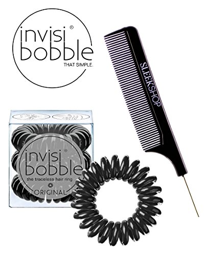 Invisibobble ORIGINAL BLACK The Traceless Hair Ring (3 rings), (with Sleek Steel Pin Tail Comb) (ORIGINAL, BLACK)