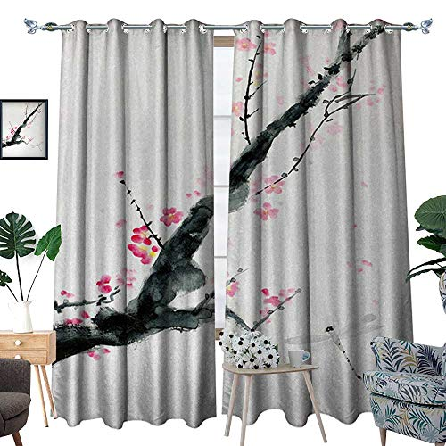 (RenteriaDecor Dragonfly Blackout Window Curtain Branch of a Pink Cherry Blossom Sakura Tree Bud and A Dragonfly Dramatic Artisan Customized Curtains W96 x L84 Pink Black)