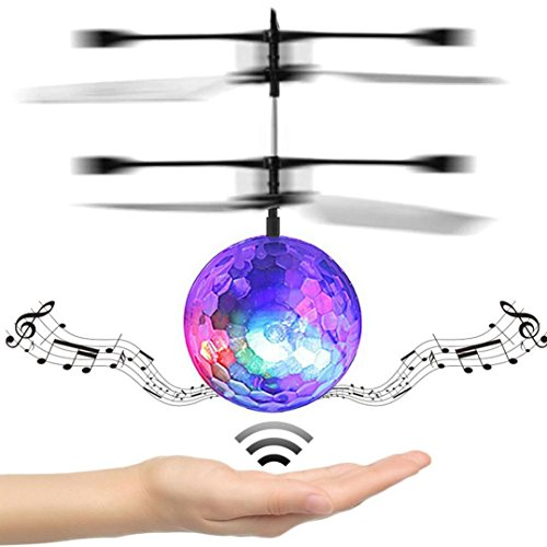 GBSELL RC Drone Helicopter Ball Built-in Disco Music With Shinning LED Lighting for Kids Teenagers Colorful Flyings Toy