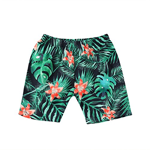 turuste Toddler Baby Boy Hawaiian Beach Shorts Swim Trunks Stripe Print Short Pants Swimwear (Green, 2-3T)