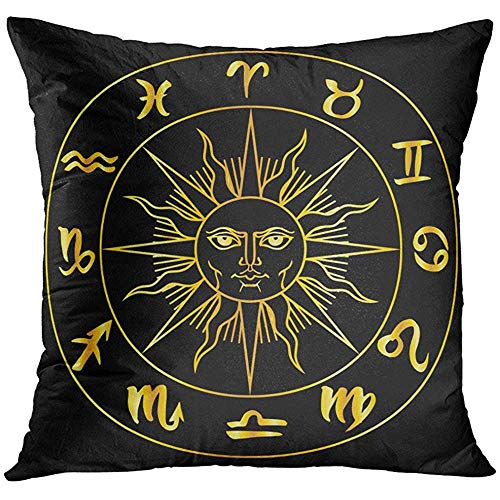 - Throw Pillow Cover Gold Collection of Zodiac Signs in Circle Around The Sun Graphics Astrology Golden Over Black Leo Mystic Decorative Pillow Case Home Decor Square 18x18 Inches Pillowcase