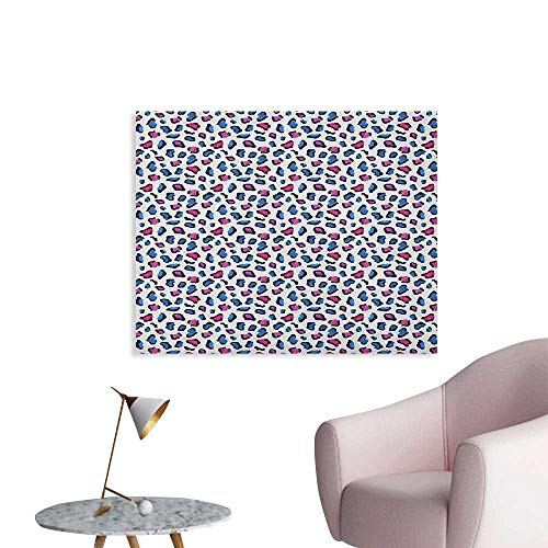 Anzhutwelve Camouflage Mural Decoration Exotic African Safari Animal Skin Pattern in Watercolors Leopard Jaguar Poster Paper Blue Pink and Black W36 xL24