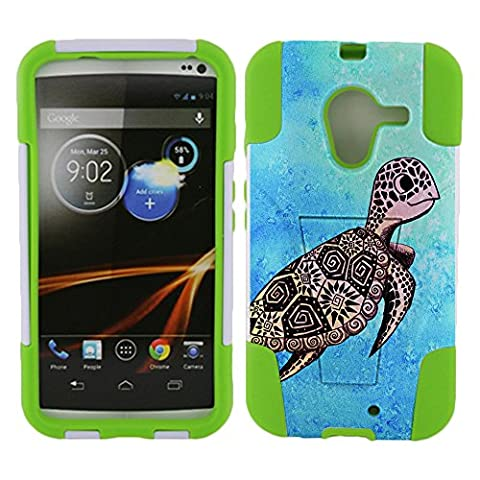 Motorola Moto X Phone XT1058 1st Gen 2013 Case, Fincibo (TM) Hybrid Dual Layer Protector Cover Gel Silicone With Y Stand Kickstand, Cute Turtle (Style 1)/ Neon (Moto X 1st Gen Phone Covers)