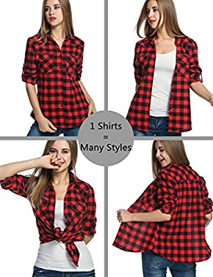 Hufcor Women's Casual Cotton Boyfriend Plaid Roll Up Sleeve Button Down Blouse Shirt(S-XXXL)