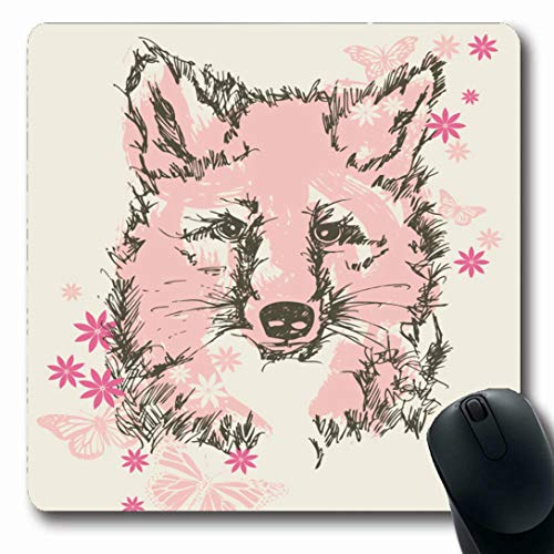 (Ahawoso Mousepads for Computers Silkscreen Pink Graphic Pretty Baby Fox Floral School Wildlife Kids Insect Screen Forest Design Happy Oblong Shape 7.9 x 9.5 Inches Non-Slip Oblong Gaming Mouse Pad)