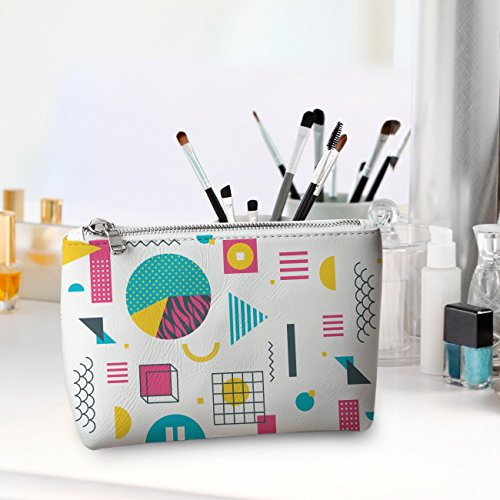 WolfCases Genuine Leather Cosmetic Bag Geometry Frenzy Doodle Convenient Makeup Bag Bribe Gift for Her Capacious Hand Bag Gift Ideas Cool Make Up Bag CL7014