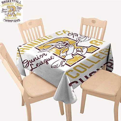 (UHOO2018 Printed Fabric Tablecloth Square/Rectangle Rabbit basketbtrain Camp Print for boy Sportswear Wedding Party Restaurant,50x 55inch )