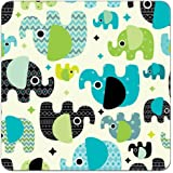 "Waterproof PUL Fabric Print 56"" Wide (Made in USA, Sold By the Yard) (Baby Elephants)"