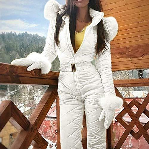 MAYouth Inverno Donne Neve Tute da Sci One Piece Sci Tuta con Cappuccio Sci Pant Imposta Body per Outdoor Sport Sci Skating