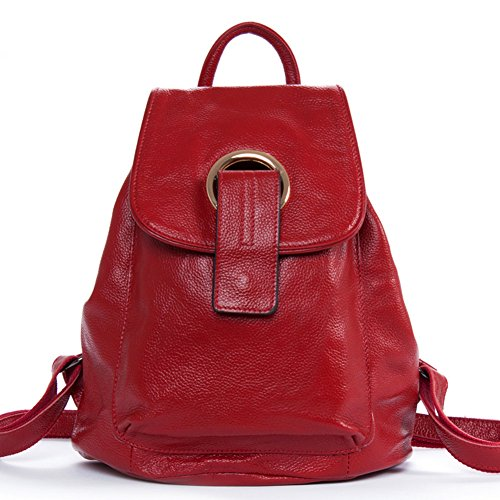 DRF Genuine Leather Backpack Small Shoulder Bag for Lady Women BG-122 (Red) by DRF