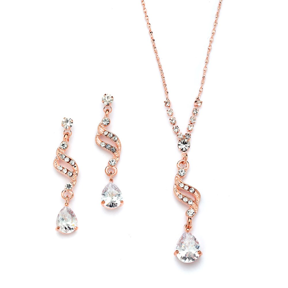 Mariell Graceful Rose Gold CZ Teardrop Necklace & Earrings Jewelry Set - Brides, Bridesmaid & Prom Glam