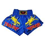 Kick Boxing Trunks Muay Thai MMA Satin Short Embroidery Blue, XXXL(183-192)