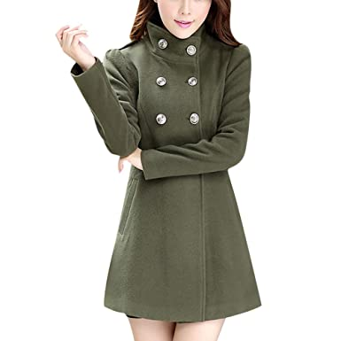 11f196946362b POTO Women Coats Women's Wool Coat Double-Breasted Pea Coat Turtleneck Trench  Jacket Overcoat Outwear