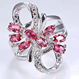 925 Silver Natural Ruby Flower Women Wedding Engagement Ring Size 6 7 8 9 10#by pimchanok shop (9, Ruby)