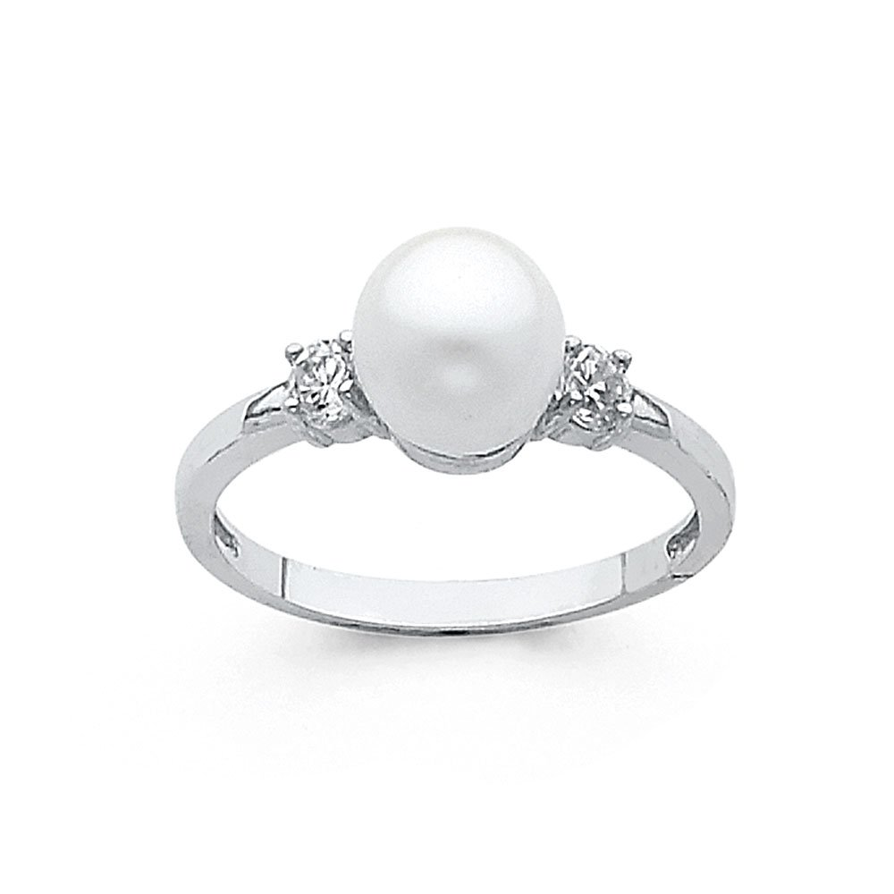 FB Jewels 14K White Gold Pearl & Cubic Zirconia CZ Fashion Anniversary Ring Size 8.5