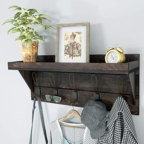 NEARPOW Coat Rack Shelf Wall Mounted, Rustic Coat Rack with Wider Shelf and Fence, Wooden Hanging Coat Rack 24
