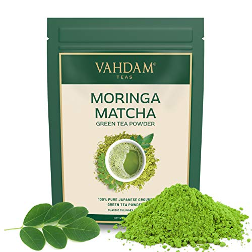 VAHDAM, te verde Matcha Moringa (50 porciones) | 100% PURE Matcha Tea Powder de origen japones | 137x ANTIOXIDANTES | Te verde para bajar de peso y desintoxicacion diaria | SUPER COMIDA de Japon, 100g