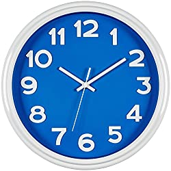 Bernhard Products - Large Wall Clock, 12.5 Silent Non-ticking Blue and White Modern Stylish Quality Quartz, Home Kitchen/Living Room/Bedroom Clock
