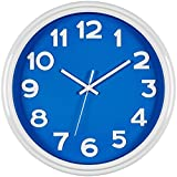 Bernhard Products - Large Wall Clock, 12.5'' Silent Non-ticking Blue and White Modern Stylish Quality Quartz, Home Kitchen/Living Room/Bedroom Clock