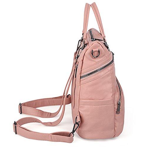 Ladies Shoulder Women Pink pink Rucksack Washed Large PU 233 Purse UTO Size Leather Backpack Bag AqwWx4fvE8
