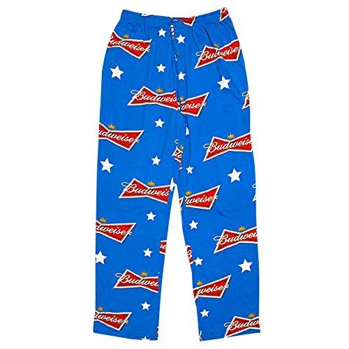 Budweiser and Bud Light Men's Lounge Pants Pajama Bottoms Sleep Pants (Medium, Budweiser Stars Blue) (Large)
