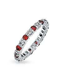 Alternating Two Tone Cubic Zirconia Stackable CZ Eternity Ring For Women Teen 925 Sterling Silver 12 Birth Month Colors