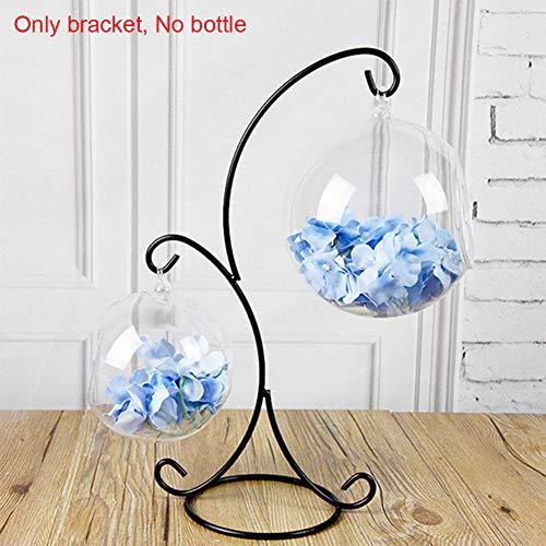 YOTHG Spiral Ornament Display Stand Hanging Plant Holder Home Garden Decor, Hanging Glass Bauble 2-Hook Desktop(Black) (Hanging Baubles Glass)