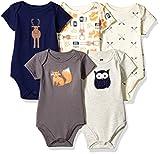 Hudson Baby Unisex Cotton Bodysuits, Forest, 6-9