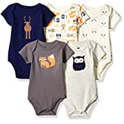 Hudson Baby Baby Infant Cotton Bodysuits, Woodland Creatures 5 Pack, 0-3 Months