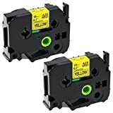 coLorty 2 Pack Black on Yellow Replacement Label Tape Compatible for Brother P-touch TZe-641 TZe641 TZ-641 TZ641 TZe TZ Tape Cartridge 18mm x 8m (3/4 Inch x 26.2 Feet)
