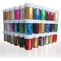 XICHEN 24PCS Nail Art Stickers Tips Wraps Foil Transfer Adhesive Glitters Acrylic DIY Decoration 24 Colours 4CM 100CM