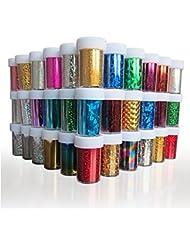 XICHEN Starry Sky Stars Nail Art Stickers Tips Wraps Foil Transfer Adhesive Glitters Acrylic DIY Decoration (24PCS 24 Colors)(4cm*100cm)