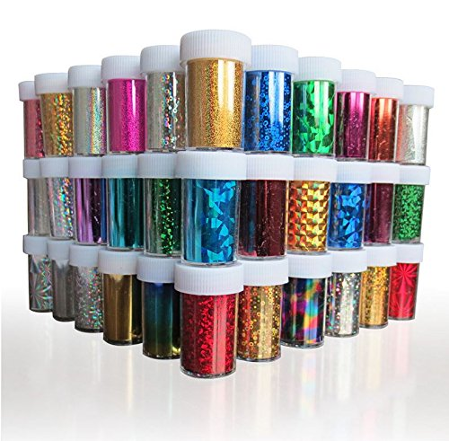 XICHEN Starry Sky Stars Nail Art Stickers Tips Wraps Foil Transfer Adhesive Glitters Acrylic DIY Decoration (24PCS 24 Colors)(4cm*100cm) - Holographic Foil
