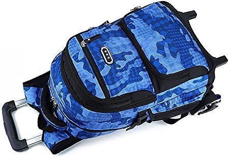 19cm 2 Roues Bleu 48 Housse Protection Offerte Trolley Bag 2 en 1 Sac /à Dos Camouflage avec roulettes Cartable /à Roulette Bagages Cabine Loisir Voyage Enfant Garcon Ecole Primaire Secondaire 32
