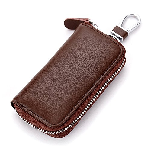 Men Leather Zip Around 6 Hook Key Case Car Key Holder Wallet ()
