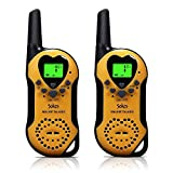 Walkie Talkies, 22 Channel Child Walkie Talkies 2 Way Radio 3 Miles (Up to 5Miles) UHF Handheld Walkie Talkie for Kids (Pair) (Yellow)