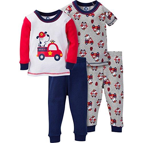 Gerber Baby Boy 4 Piece Cotton Pajama Set, fire truck, 12 Months