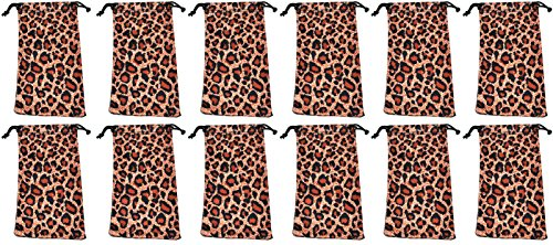 Pouches for Glasses Cleaning Case Bag Black 1, 6, 12, 24,100, 2000 PCS (Leopard-12) (And Bags Wholesale Shoes)