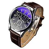 jys365Militar Unisex Funda de piel sintética de acero inoxidable reloj de cuarzo analógico, Brown Band andamp; Black Dial