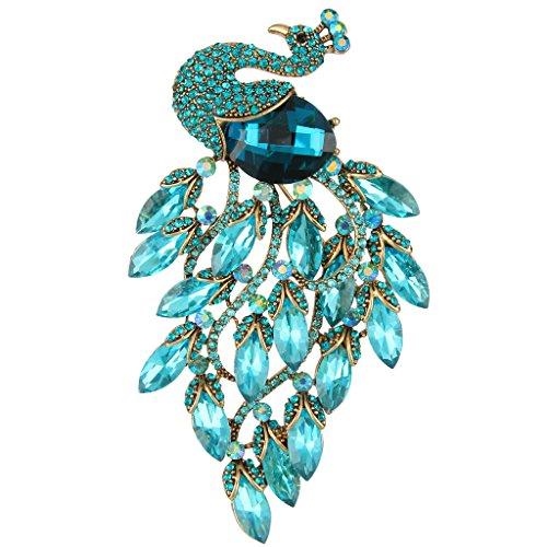 EVER FAITH Women's Rhinestone Crystal Elegant Party Peacock Bird Brooch Blue Antique Gold-Tone