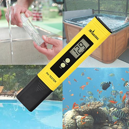 Risantec Digital PH Meter Tester Best For Water Aquarium Pool Hot Tub Hydroponics Wine - Push Button Calibration Resolution .01 / High Accuracy +/- .05 - Large LCD Display - Satisfaction Guaranteed by Risantec (Image #2)