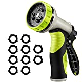 [ Updated Version ] VicTsing Heavy Duty Garden Hose Nozzle with 9 Watering Patterns, 10 Rubber Washers, ABS and TPR Materials, Designed for Watering Plants, Washing Cars, Cleaning Yards and Showering Pets, Green
