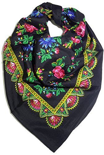 [Traditional Polish Folk Head Scarf - Royal Collection, Black] (Traditional Russian Outfits)