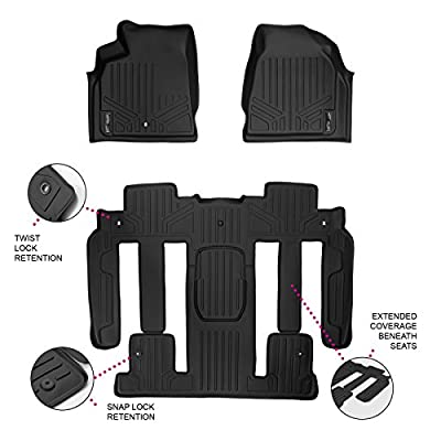 SMARTLINER Floor Mats 3 Row Liner Set Black for Traverse/Enclave / Acadia/Outlook with 2nd Row Bucket Seats